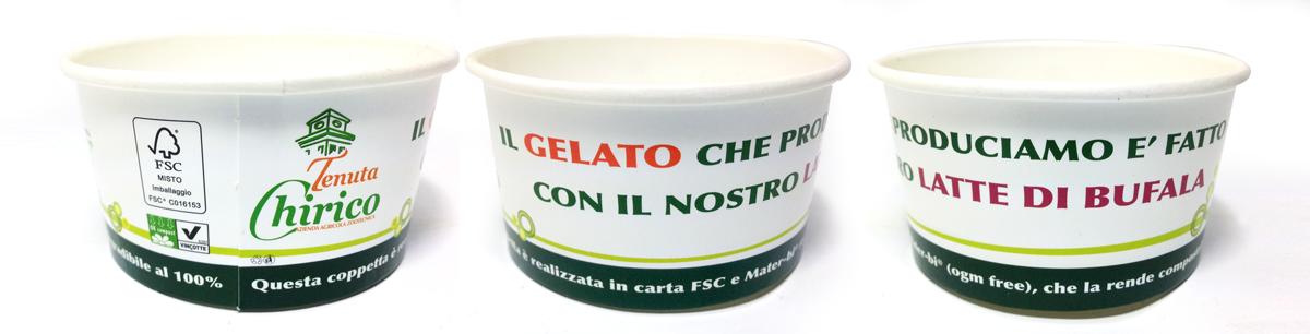 Coppetta gelato in Carta e Mater-bi compostabile e biodegradabile al 100% personalizzata.